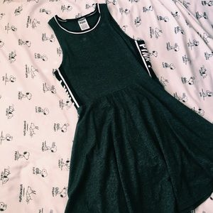 PINK | grey mini skater dress